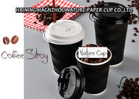 Embossed Black Ripple Coffee Cups , Custom Printed Paper Coffee Cups With Straws